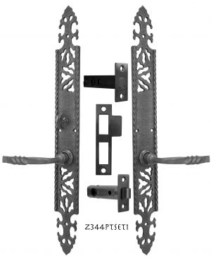 Gothic or Arts & Crafts Iron Door Plate Set with Locking Turnlatch (Z344PTSET1)