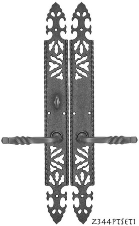 Gothic-or-Arts-and-Crafts-Iron-Door-Plate-Set-with-Locking-Turnlatch-(Z344PTSET1)
