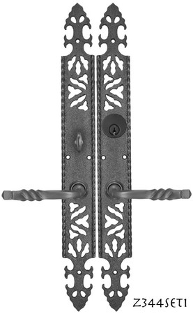 Gothic or Arts and Crafts Iron Door Plate Enty Set (Z344SET1)