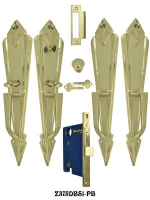Art Deco Style Double or French Door Plate Set Entry Mortise Lockset (Z375DBS1)