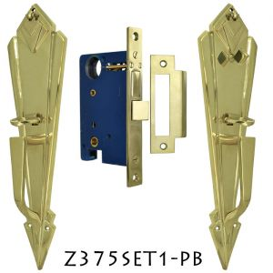 Art Deco Door Plate Entry Mortise Set (Z375SET1)