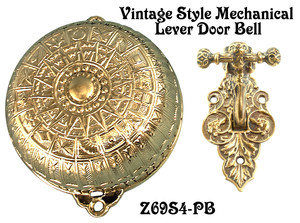 Eastlake Mechanical Doorbell With RARE Dog Motif Lever Set (Z69S4-PB)