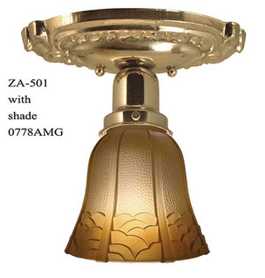 Victorian Oval Canopy Short Ceiling Light Semi Flush Mount (ZA-501)