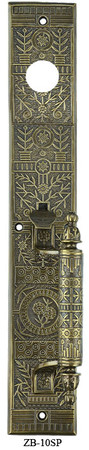 "Victorian Windsor Exterior Entry Thumblatch Door Plate 15 3/4"" Tall (ZB-10SP)"