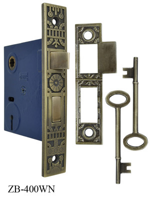 "Victorian Windsor Recreated Pattern 2 1/4"" Backset Lock- Skeleton Key Or Turnlatch 2 1/2""cc (ZB-400WN)"