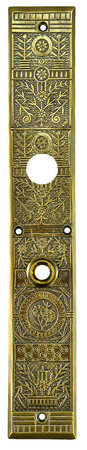 "Victorian Windsor Entry Door Plate with Cylinder Keyhole 15 3/4"" Tall (ZB-90SP)"