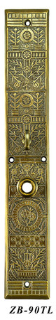 "Victorian Windsor Interior Entry Recreated Turnlatch Door Plate 15 3/4"" Tall (ZB-90TL)"