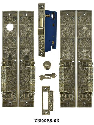 Victorian Windsor Pattern Entry Double Door Set (ZB10DBS-DK)