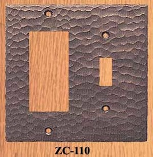 Arts & Crafts Double Switch Plate For GFI & Light Switch (ZC-110)