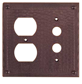Arts crafts copper outlet push button switch plate for Arts and crafts outlet covers