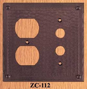 Arts & Crafts Copper Outlet & Push Button Switch Plate Field Pattern (ZC-112)