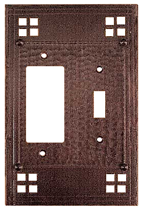 Arts crafts copper rocker switch plate pacific pattern for Arts and crafts outlet covers