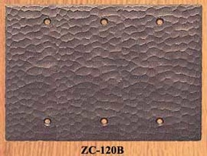 Arts & Crafts Hammered Copper Triple Blank Switch Plate Cover (ZC-120B)