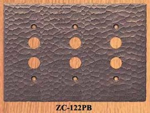 Arts & Crafts Copper Triple Push Button Switch Plate (ZC-122PB)