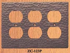 Arts & Crafts Hammered Copper Triple Plug Outlet Plate Cover (ZC-123P)