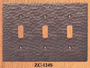 Arts & Crafts Hammered Copper Triple Light Switch Plate Cover (ZC-124S)