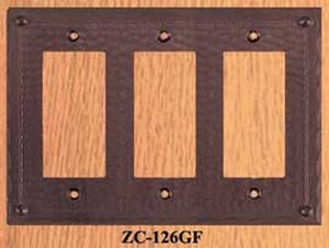 Arts & Crafts Triple GFI Switch Plate Field Pattern (ZC-126GF)