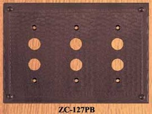 Arts & Crafts Triple Push Button Switch Plate Field Pattern (ZC-127PB)