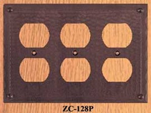 Arts & Crafts Triple Plug Cover Plate Field Pattern (ZC-128P)