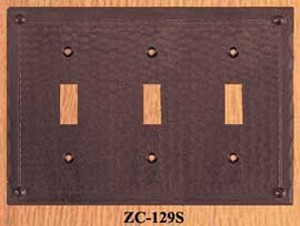 Arts & Crafts Copper 3 Gang Light Switch Cover Plate Field Pattern (ZC-129S)