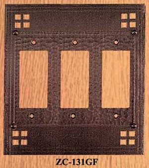 Arts & Crafts Triple GFI Copper Switch Plate Pacific Pattern (ZC-131GF)
