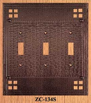 Arts & Crafts Triple Switch Plate Pacific Pattern (ZC-134S)