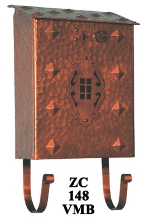 Arts & Crafts Vertical Hammered Copper Mail Box (ZC-148VMB)