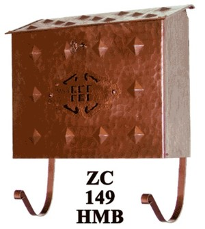 Arts & Crafts Horizontal Hammered Copper Mail Box (ZC-149HMB)