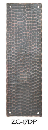 "Arts & Crafts Hammered Copper Door Push Plate 8"" Tall (ZC-17DP)"