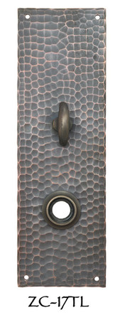 "Arts & Crafts Hammered Copper Turnlatch Door Plate 8"" Tall (ZC-17TL)"