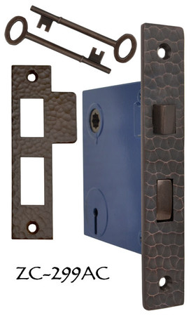 "Arts & Crafts Hammered Copper 2 5/8"" Backset Mortise Lock- Choice Of Function (ZC-299AC)"