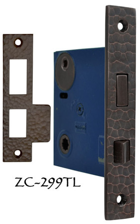 "Arts & Crafts Hammered Copper 2 5/8"" Backset Mortise Lock- Turnlatch Function (ZC-299TL)"