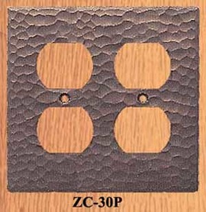 Arts & Crafts Copper Double Plug Outlet Cover Plate (ZC-30P)