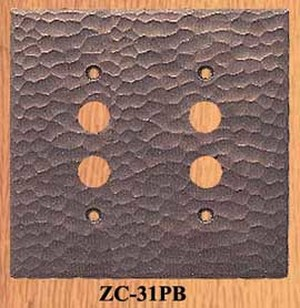 Arts & Crafts Double Push Button Switch Plate (ZC-31PB)