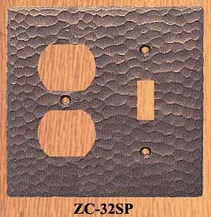 Arts & Crafts Hammered Copper Plug & Light Switch Cover Plate (ZC-32SP)