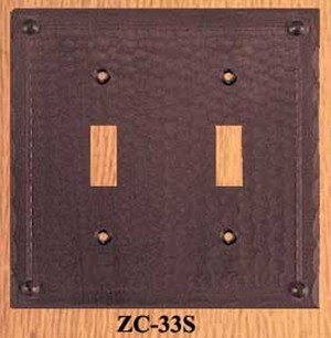 Copper Double Light Switch Plate Field Pattern (ZC-33S)