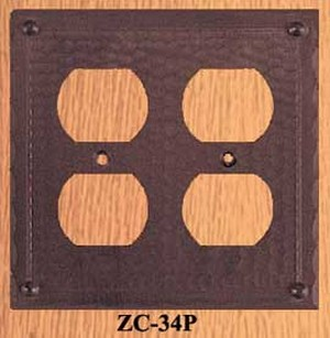 Arts & Crafts Copper Double Plug Outlet Cover Plate Field Pattern (ZC-34P)