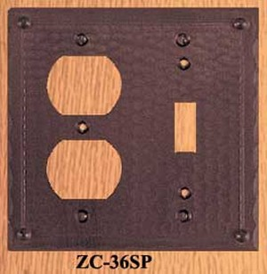 Arts & Crafts Copper Plug & Switch Cover Field Pattern (ZC-36SP)