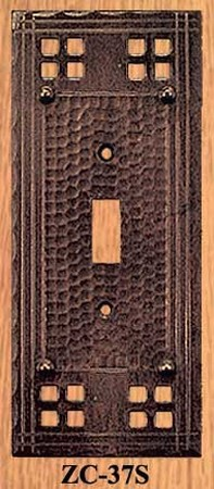 Arts & Crafts Style Single Switch Plate Cover Pacific Pattern (ZC-37S)