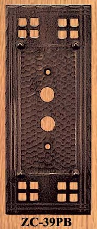 Arts & Crafts Copper Push Button Switch Plate Pacific Pattern (ZC-39PB)