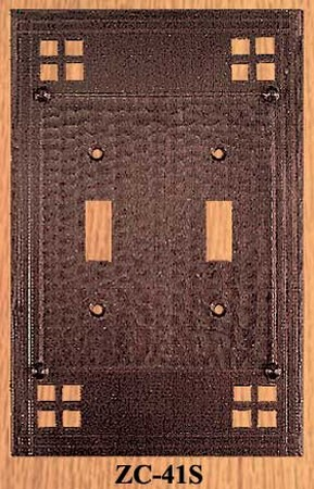 Arts & Crafts Double Switch Plate Pacific Pattern (ZC-41S)