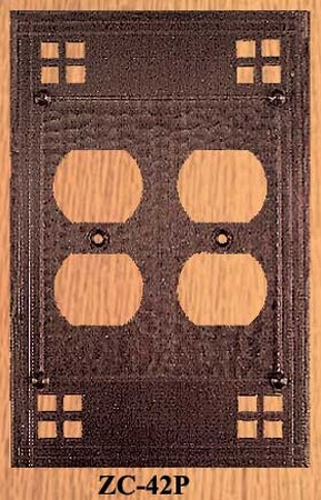 Arts & Crafts Copper Double Plug Cover Plate Pacific Pattern (ZC-42P)