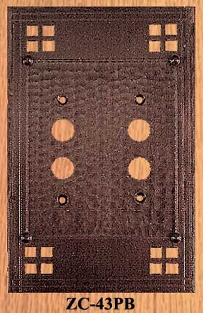 Arts & Crafts Double Push Button Switch Plate Pacific Pattern (ZC-43PB)