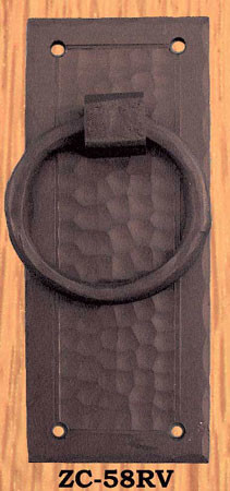 Arts & Crafts Large Vertical Ring Pull Handle Field Pattern (ZC-58RV)