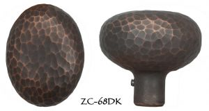 Arts & Crafts Hammered Copper Finish Oval Doorknob (ZC-68DK)