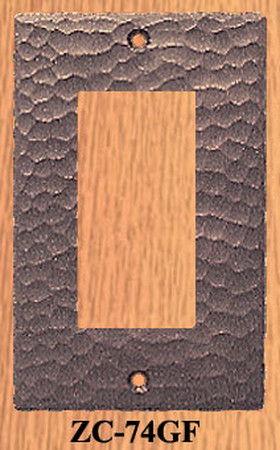 Arts & Crafts Hammered Copper Single GFI  Switch Plate (ZC-74GF)