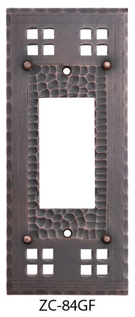Arts & Crafts Copper Single GFI or Rocker Switch Plate Pacific Pattern (ZC-84GF)