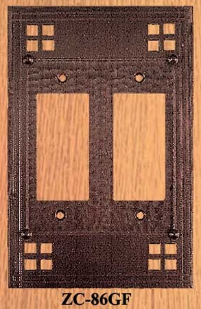 Arts & Crafts Double GFI Or Rocker Switch Plate Pacific Pattern (ZC-86GF)