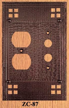 Arts & Crafts Copper Outlet & Push Button Switch Plate Pacific Pattern (ZC-87)