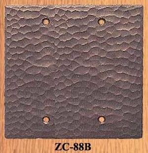 Arts & Crafts Hammered Copper Double Blank Switch Plate Cover (ZC-88B)